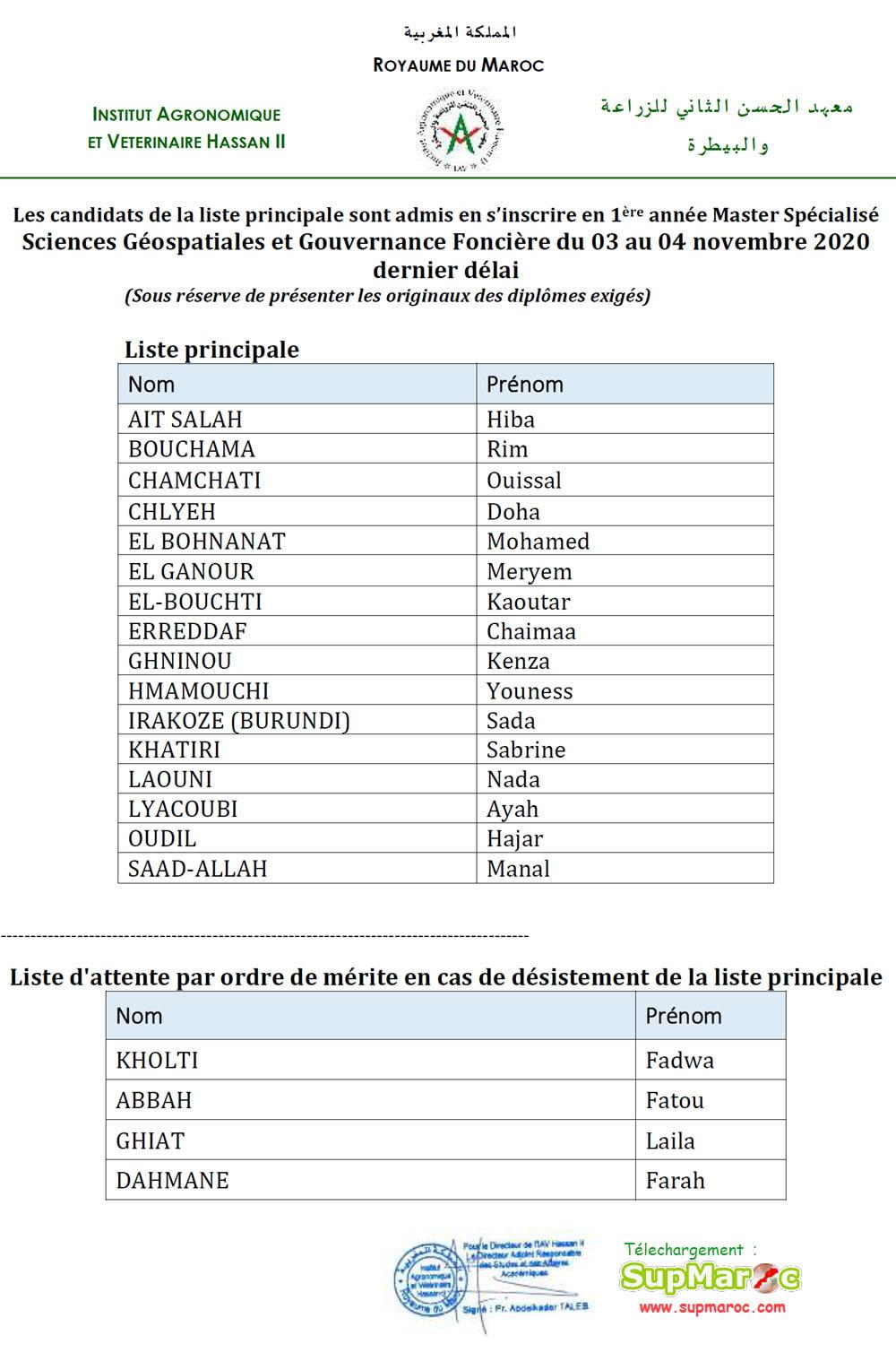 Résultats Master SGGF IAV Rabat 2020 2021