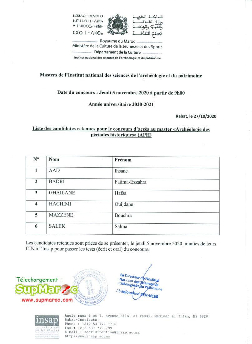 Résultats de Présélection Concours INSAP Rabat Master 2020
