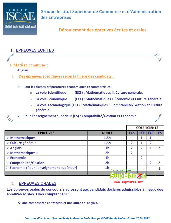 matières Concours ISCAE GE Casa Rabat 2021 - 2022