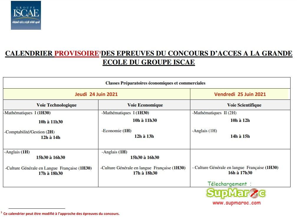 epreuves Concours ISCAE GE Casa Rabat 2021 - 2022