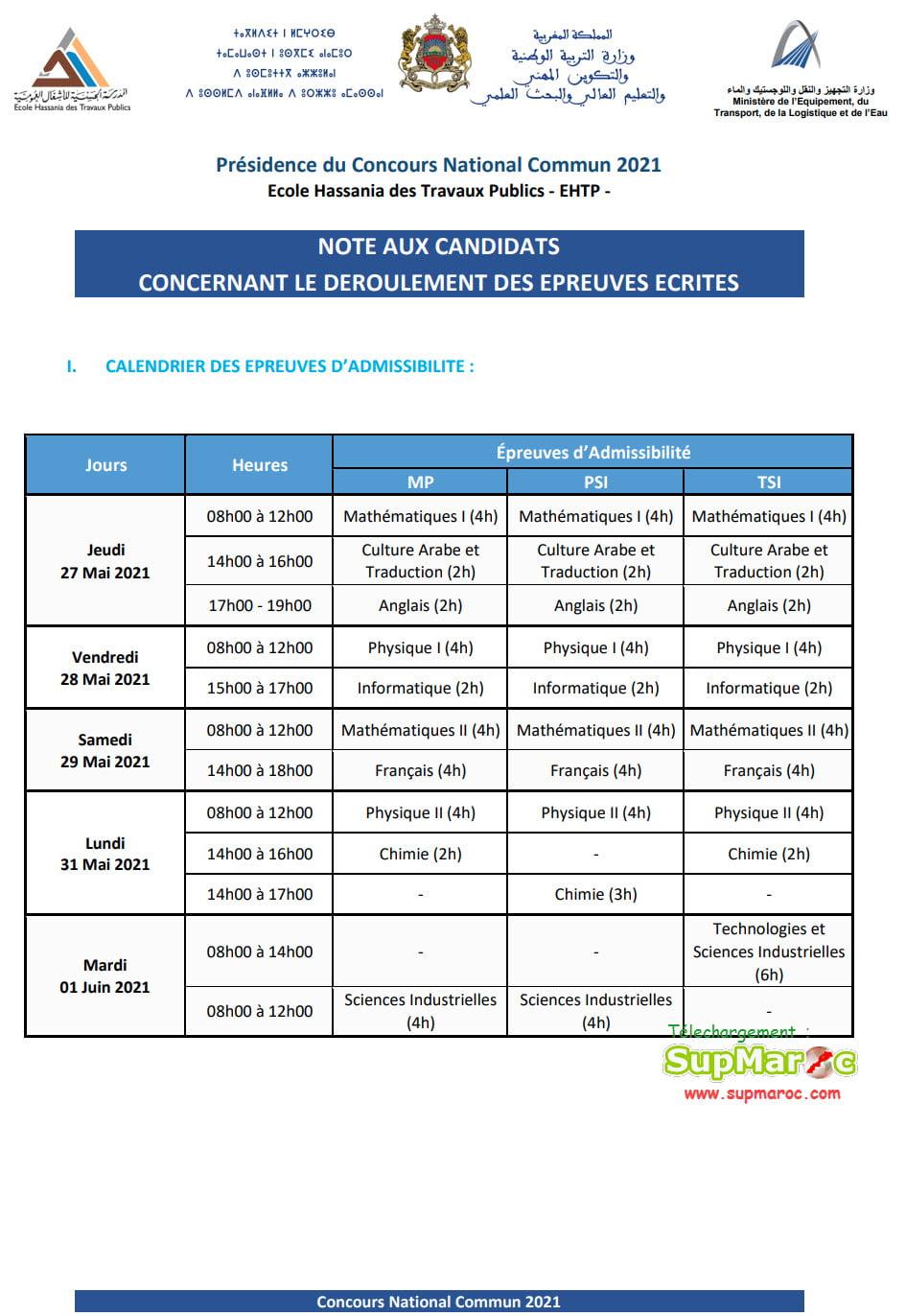 Instructions Ecrit Concours national commun CNC 2021
