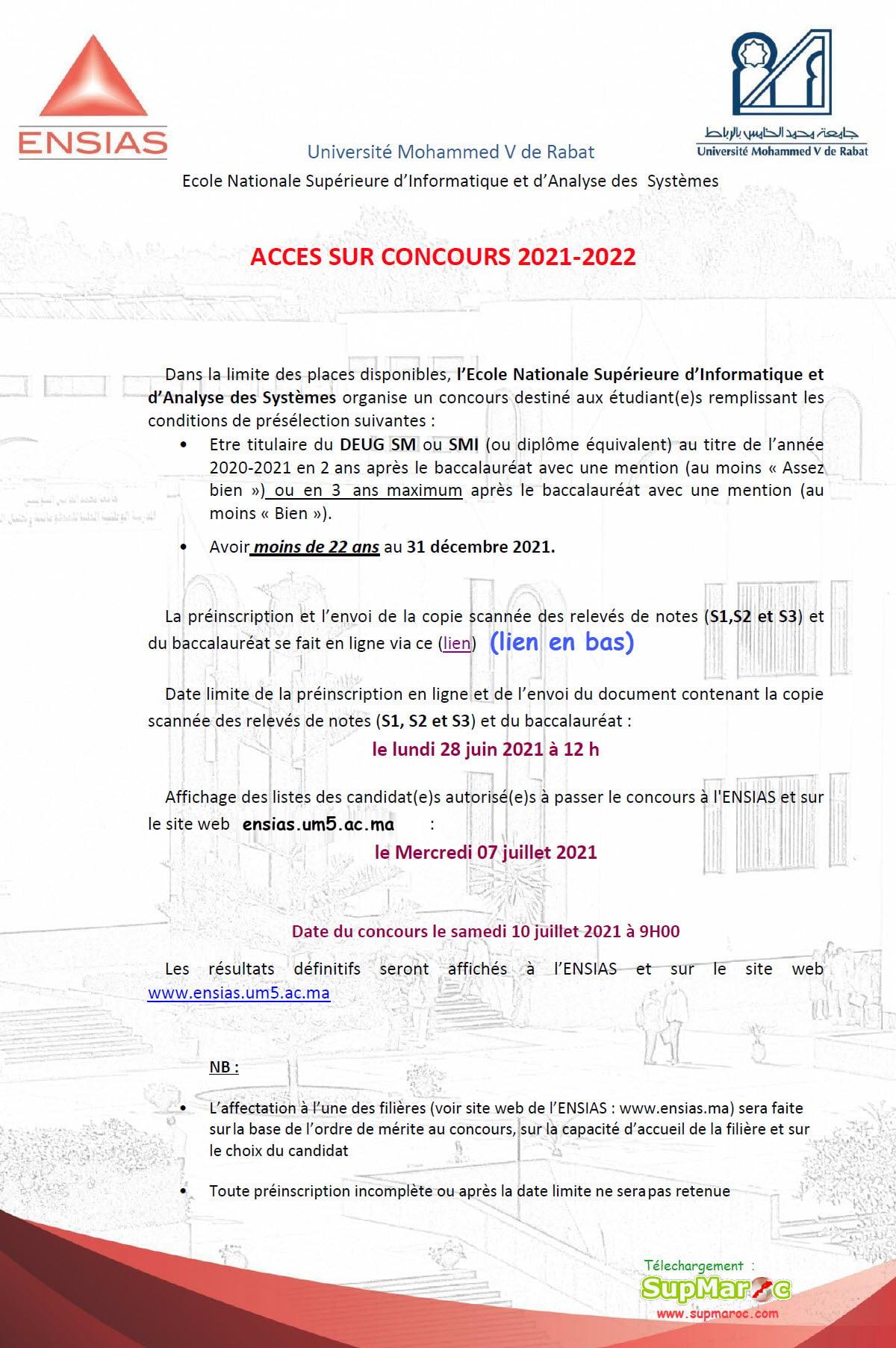 Concours sur Concours ENSIAS DEUG Rabat 2021 2022