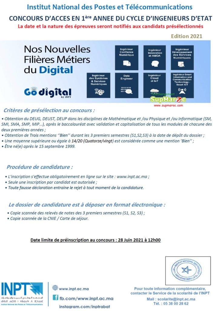 Concours  INPT Rabat 1ere année Télécommunication 2021 2022