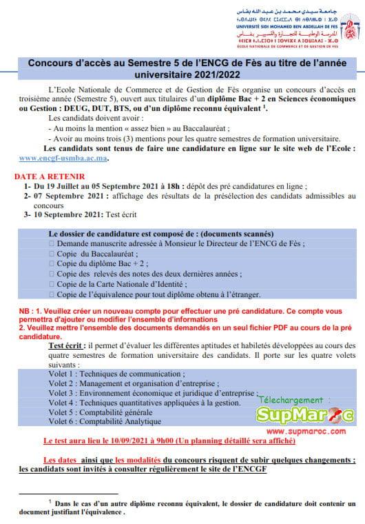 ENCG Fes Concours S5 3eme année 2021 - 2022
