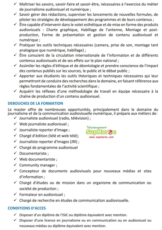 ISIC Rabat Concours  master Spécialisé 2021 2022
