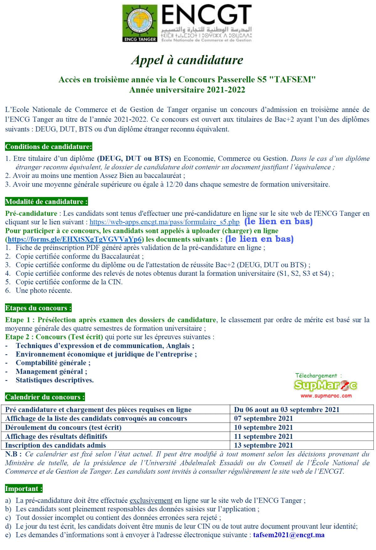 ENCG Tanger Concours 3ème  année S52021 2022