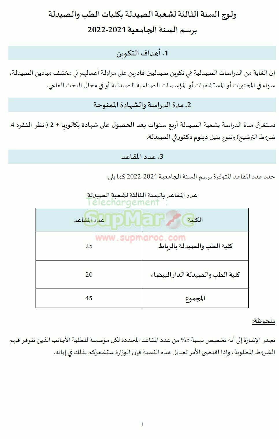 Note et Concours Pharmacie DEUG bac+2 session 2021 2022