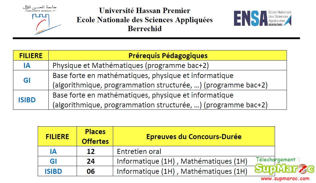ENSA Berrchid concours 1ère année  C. Ingénieur 2021