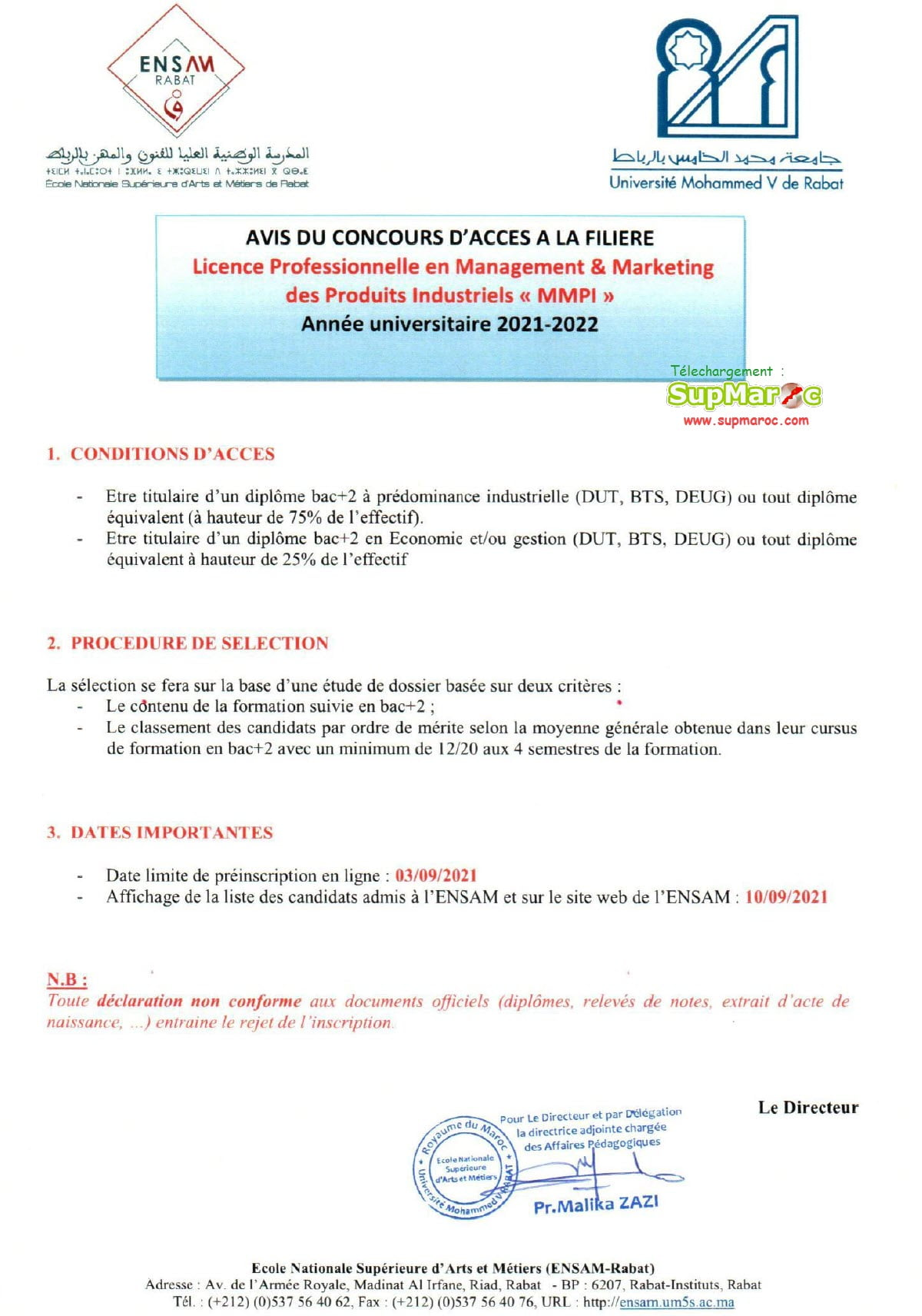 ENSAM Rabat concours Licence Prof  MMPI 2021 2022