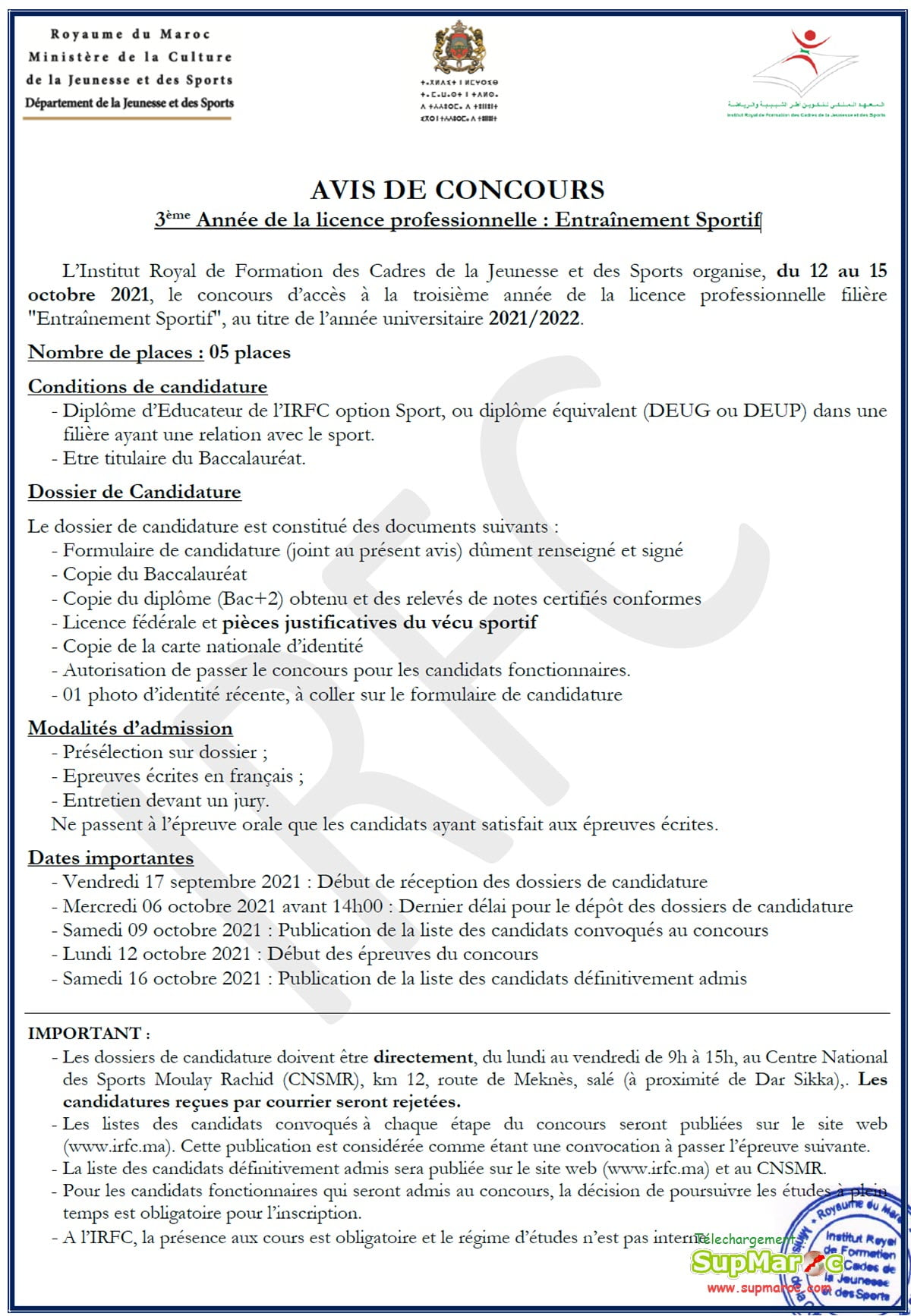 IRFC Rabat LP3 3eme annee Licences Prof 2021 2022