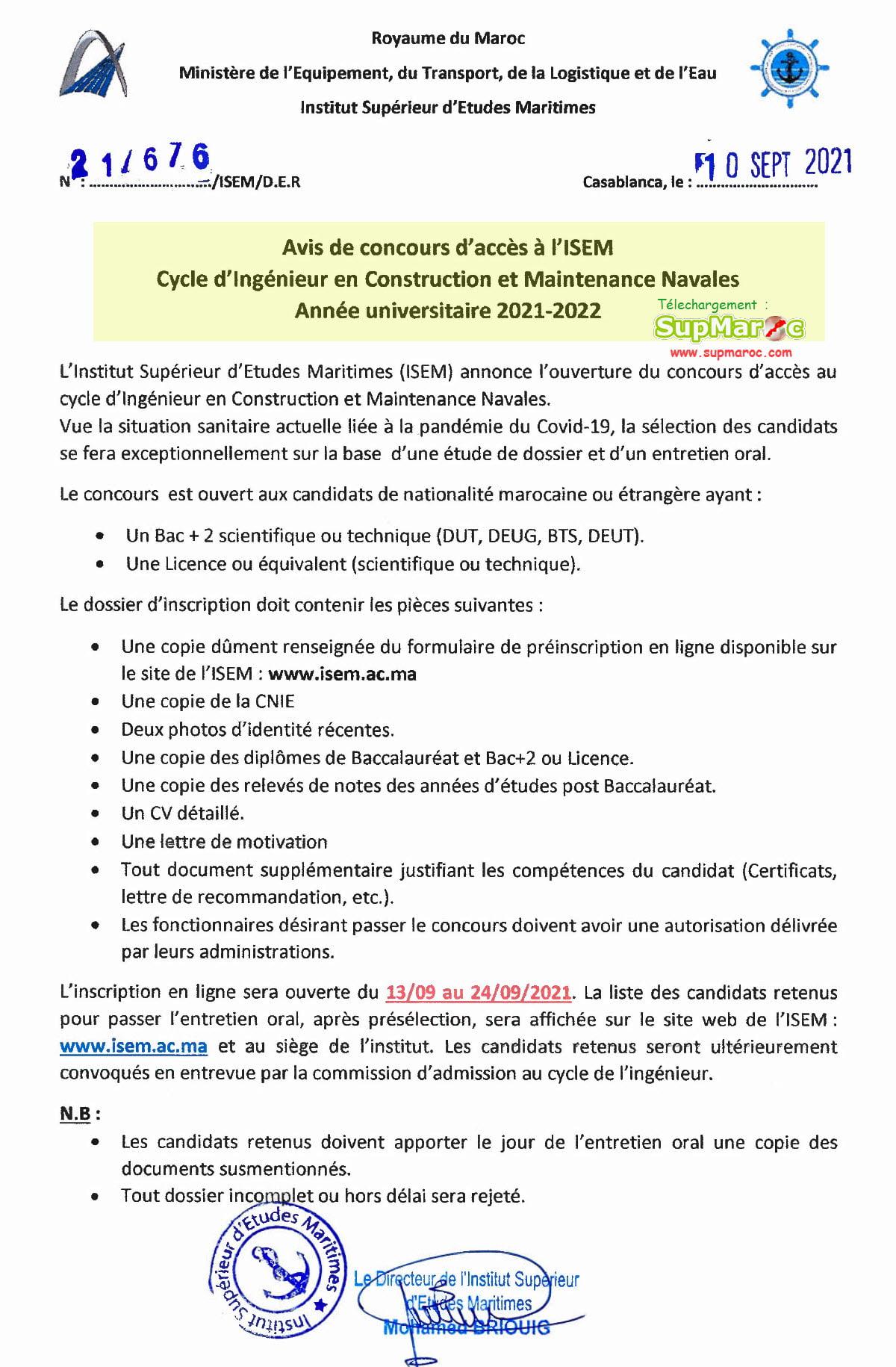 CONCOURS ISEM Casa Cycle ingénieur 2021 2022