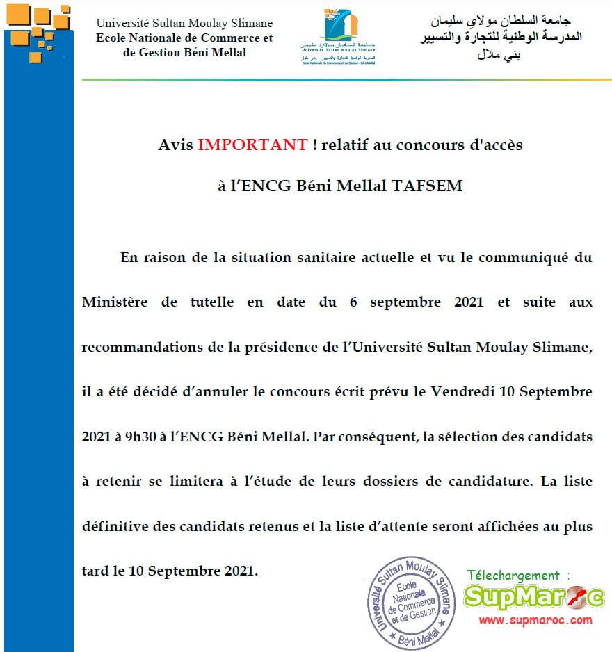 Résultats ENCG Béni Mellal Concours S5 2021 2022