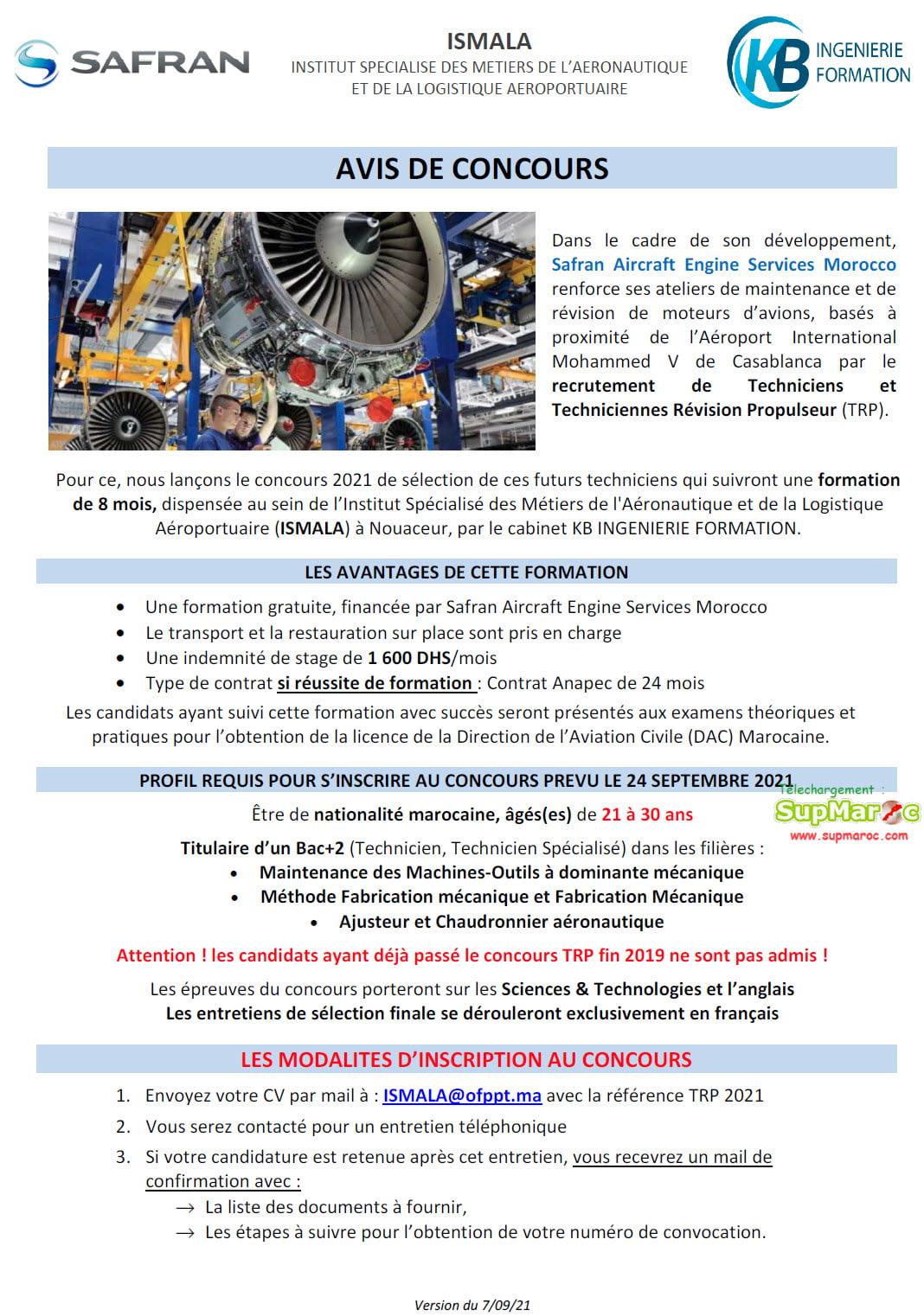 ISMALA Recrutement techniciens Safran Aircraft Engine Services Morocco 2021