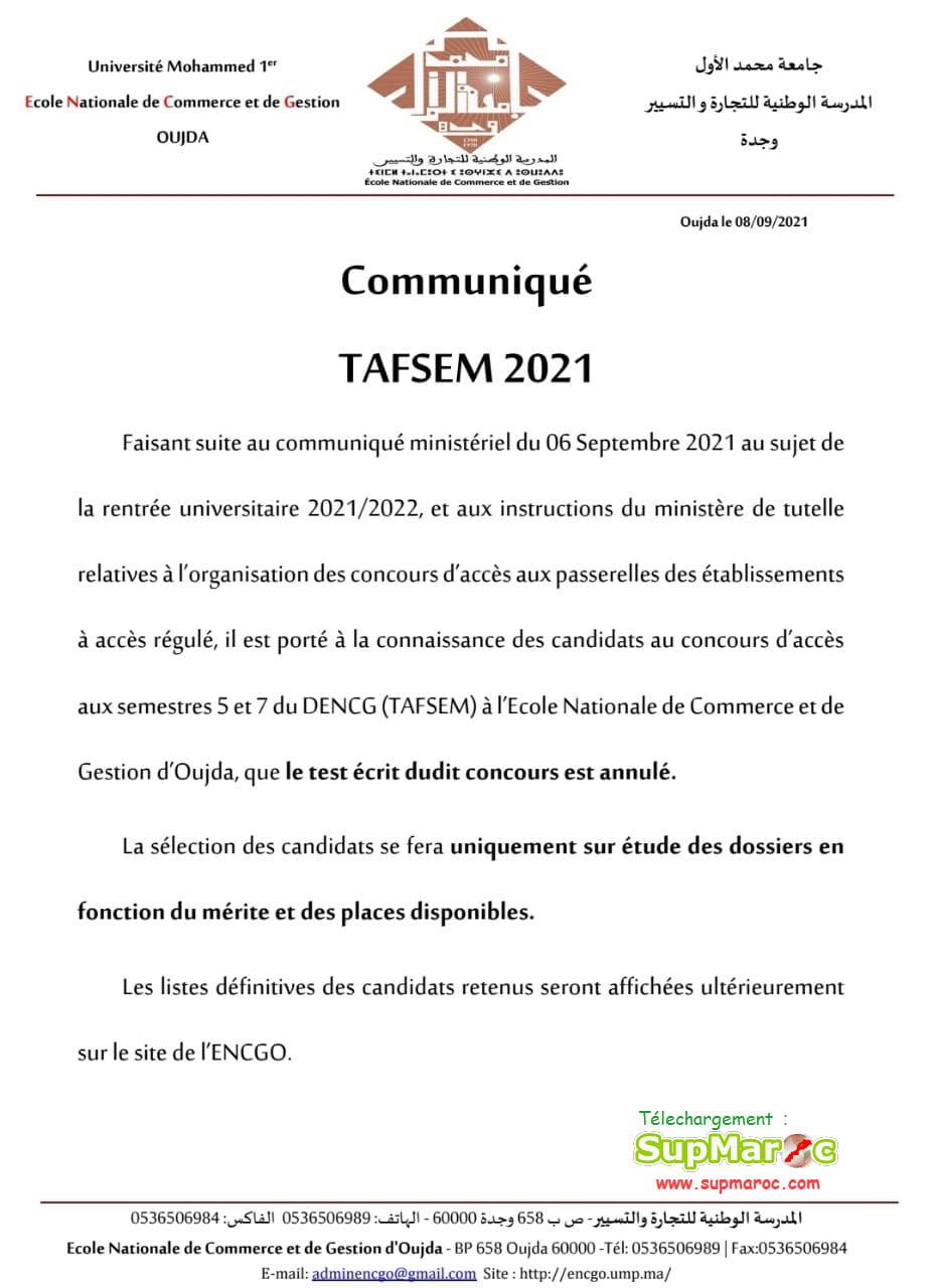 Selection ENCG Oujda Concours S5 S7 2021 2022