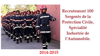 Recrutement 100 Sergents de la Protection Civile, Spécialité Industrie de l'Automobile.