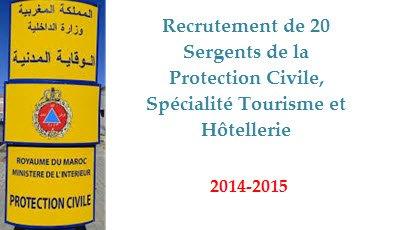 Recrutement de 20 Sergents de la Protection Civile, Spécialité Tourisme et Hôtellerie