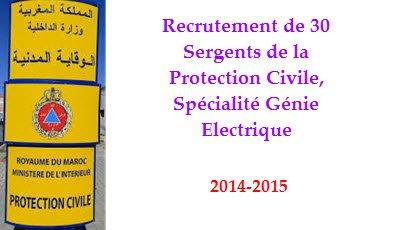 Recrutement de 30 Sergents de la Protection Civile, Spécialité Génie Electrique