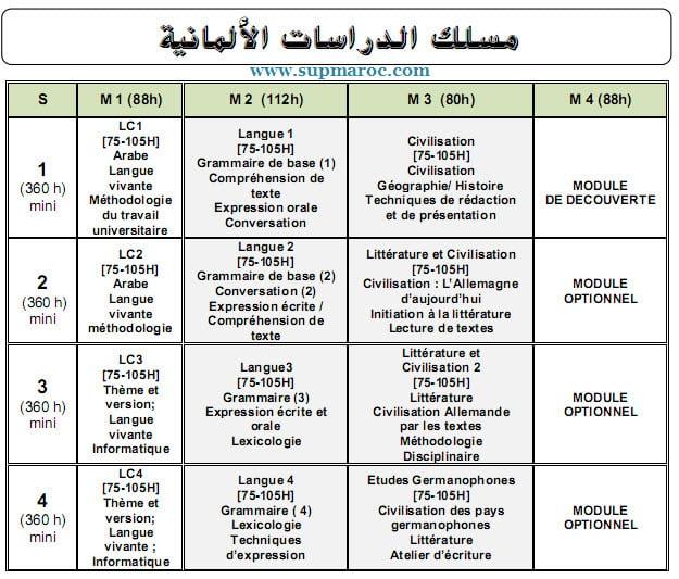 Université licence d'Études Fondamentales (LF) Études Allemandes