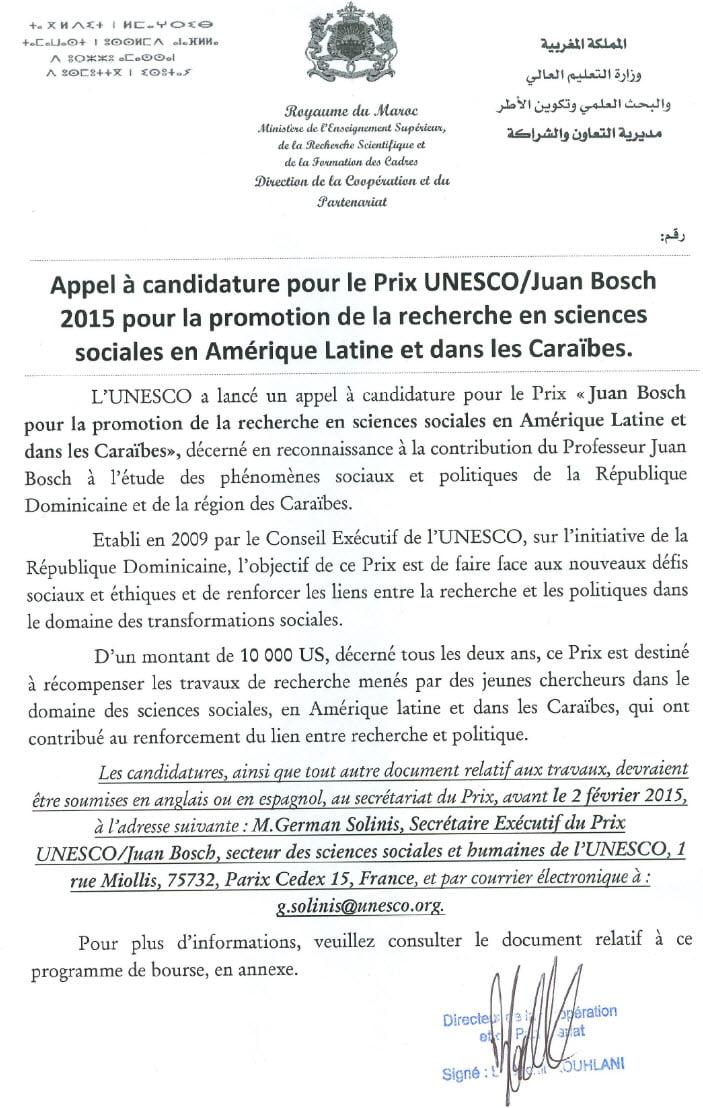 candidature pour le Prix UNESCO Juan Bosch 2015