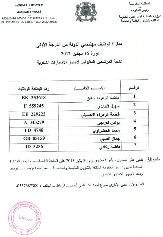 r u00e9sultats de l u0026 39 ecrit concours des ing u00e9nieurs minist u00e8re