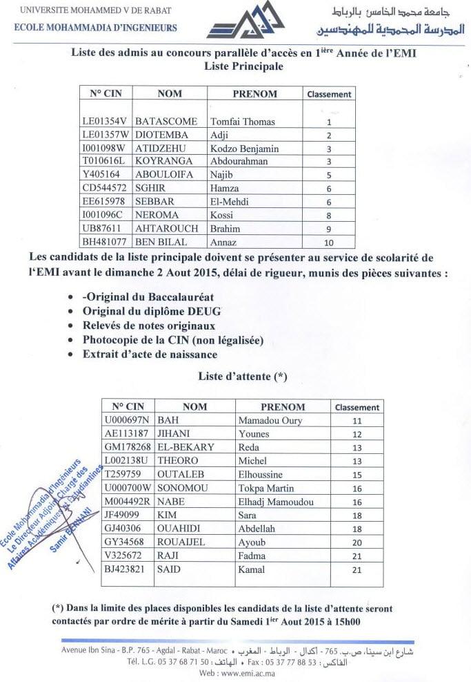 r u00e9sultats definitifs concours emi 2015 ecole mohammadia d