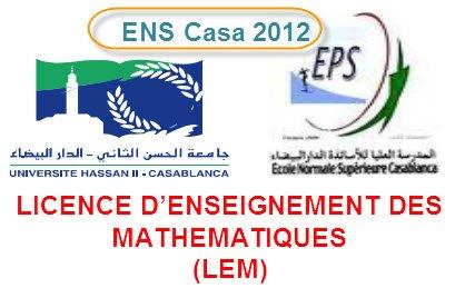 Concours  Licence Professionnelle d'enseignement Maths ENS Casa