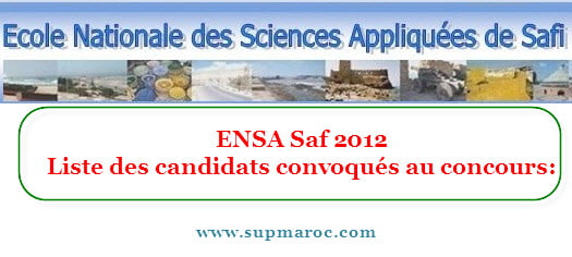 ENSA Safi Préselection 2012-2013