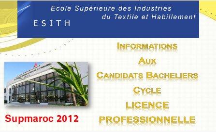 Concours 2012 Ecole Supérieure des Industries du Textile et de l'Habillement