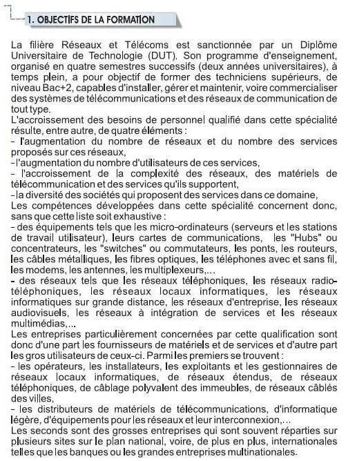 objectifs EST Filière Réseaux et Télécommunications (RT)
