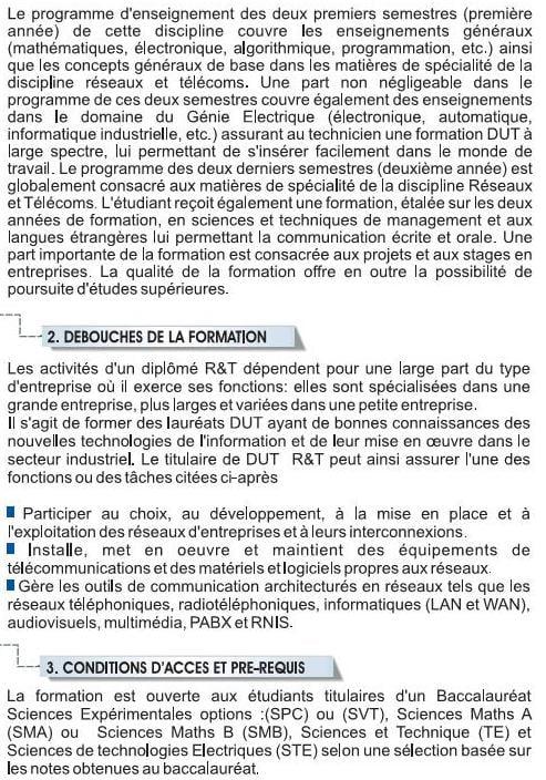 EST Filière Réseaux et Télécommunications (RT)