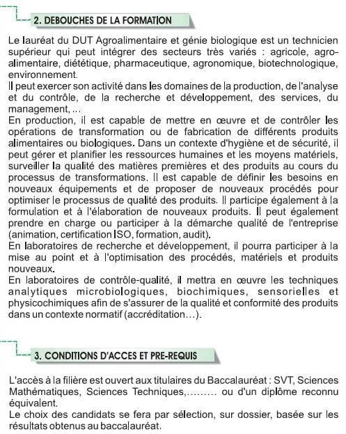 EST DUT Filière Agroalimentaire et Génie Biologique (AGB)