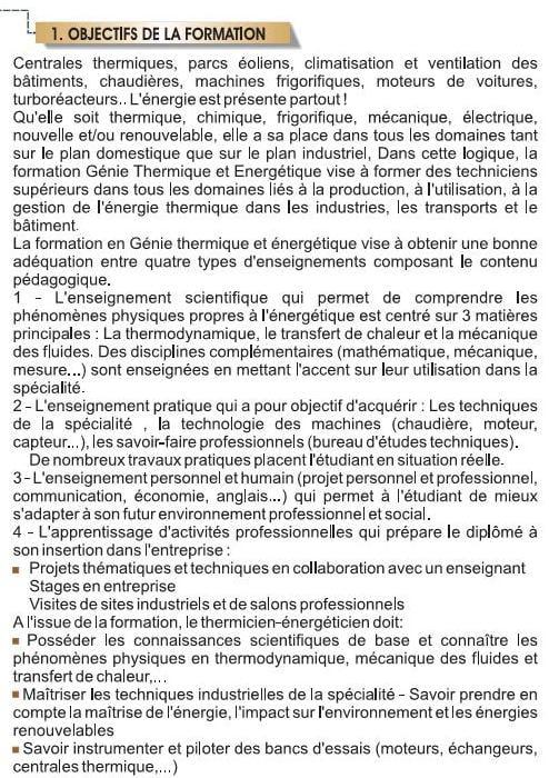 EST DUT Filière Génie Thermique et Energétique (GTE)