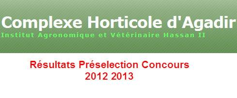 Résultats Préselection Concours 2012 2013
