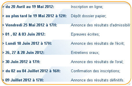 iscae calendrier concours 2012 2013
