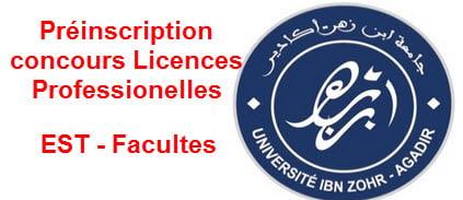 universite ibn zouhr Préinscription concours Licences Professionelles